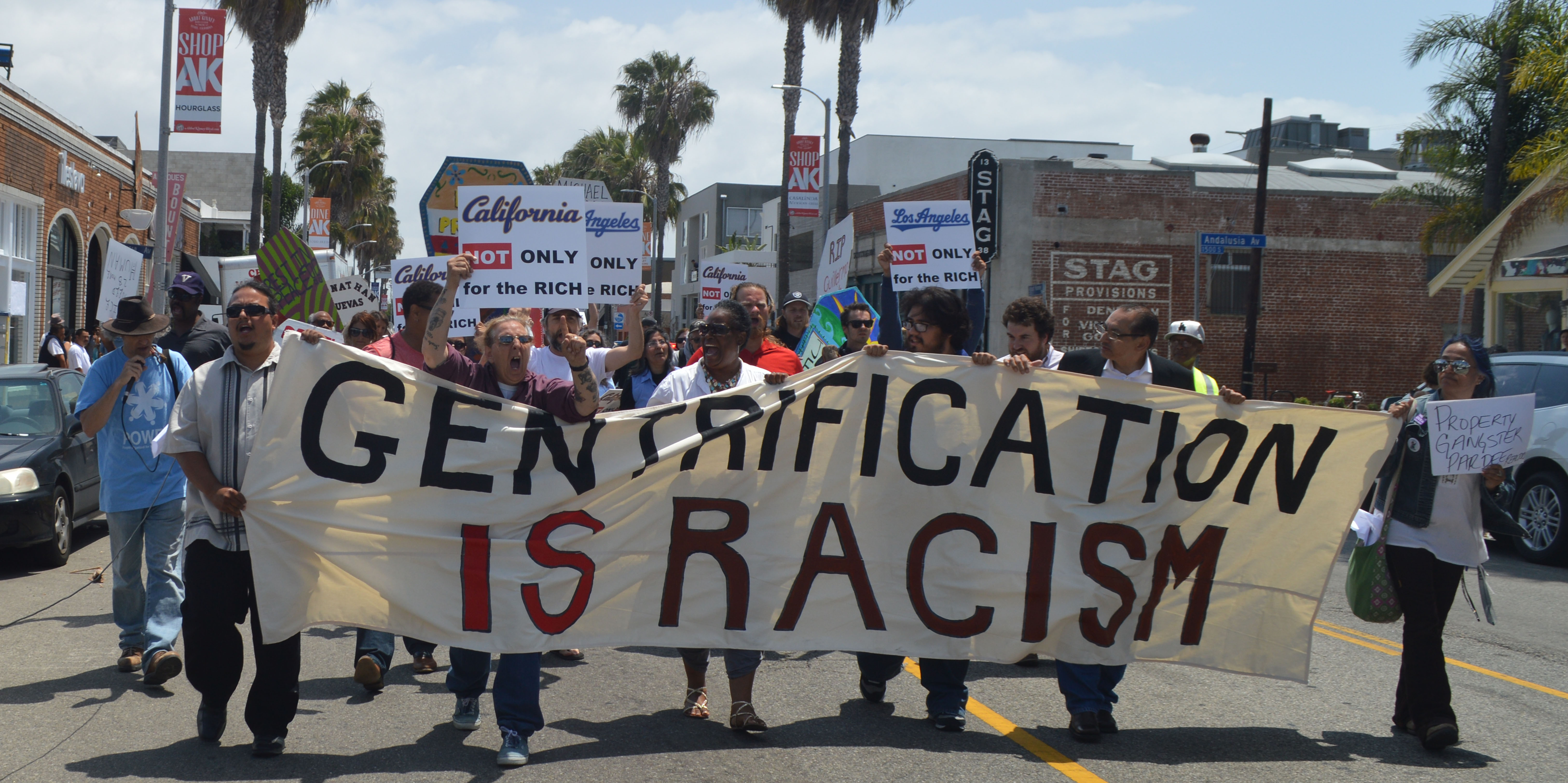 Protesters Marching On Abbot Kinney Boulevard